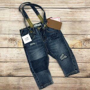 Zara Boy's Size 6-9M Distressed Denim Suspenders